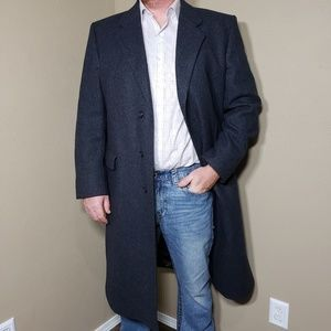 Vtg Nordstrom Wool Coat 42 R Navy Gray Black
